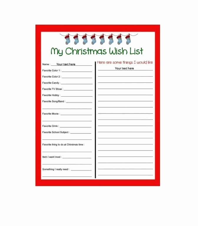 Christmas Wish List Template Luxury 43 Printable Christmas Wish List Templates & Ideas