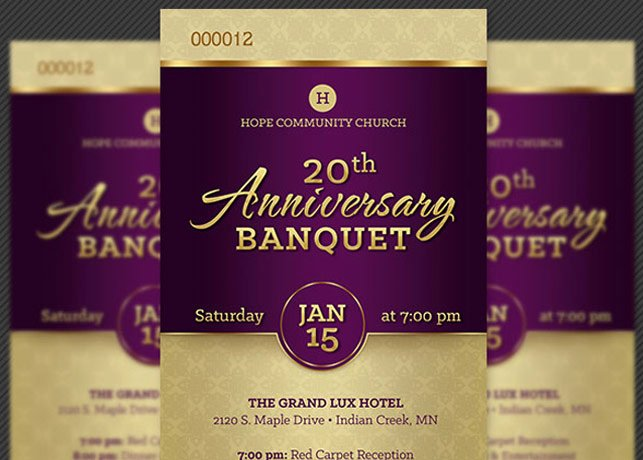 Church Anniversary Program Template New Church Anniversary Banquet Ticket Template