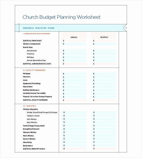 Church Budget Template Excel Elegant 9 Church Bud Template Doc Excel Pdf
