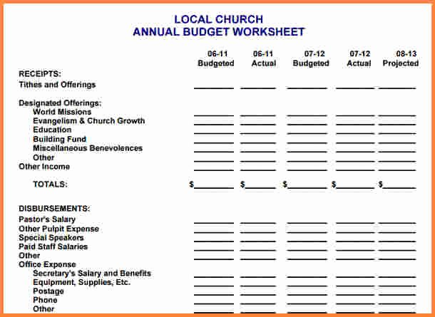 Church Budget Template Excel Unique 10 Sample Church Bud Spreadsheet