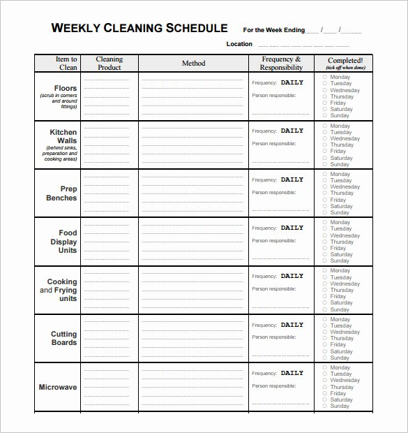 Church Cleaning Checklist Template Beautiful Cleaning Schedule Template for Restaurant