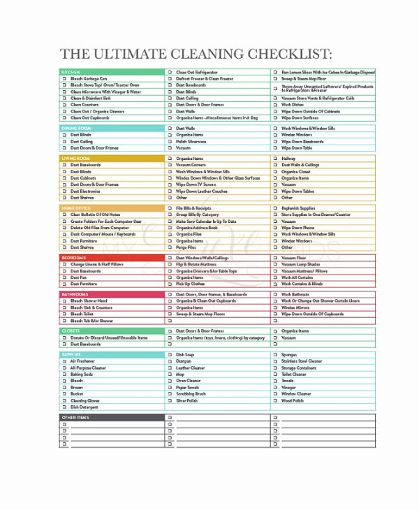 Church Cleaning Checklist Template Best Of Cleaning Checklist 31 Word Pdf Psd Documents Download