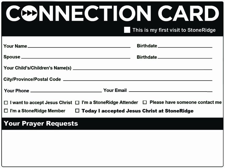 Church Connection Card Template Inspirational Connection Card Church events Pinterest