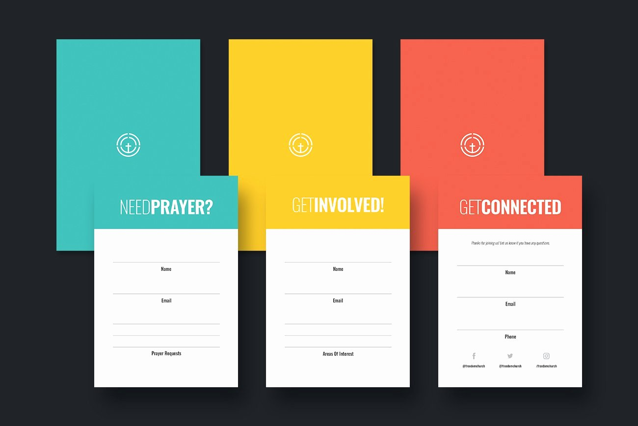 Church Connection Card Template Lovely Church Connection Cards Pack Flyer Templates Creative