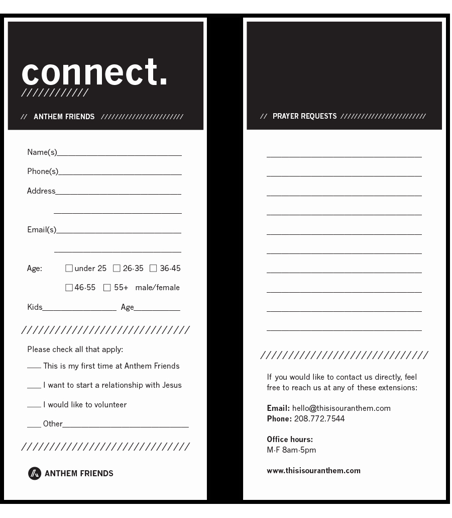 Church Connection Card Template New Connect Cards Church Google Search