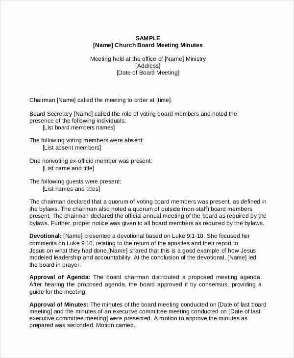 Church Meeting Minutes Template Best Of 11 Church Meeting Minutes Templates