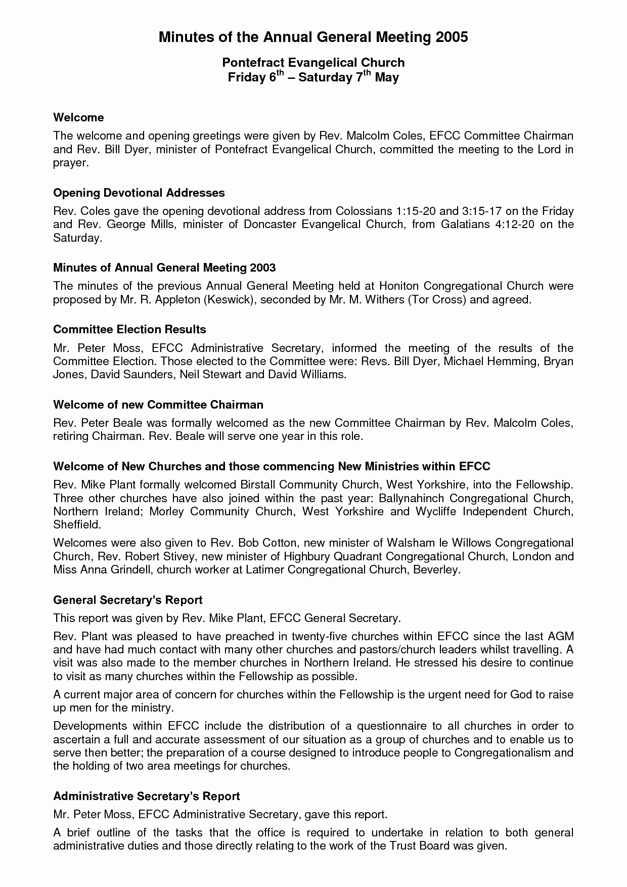 Church Meeting Minutes Template Elegant Annual General Meeting format Image Collections Download