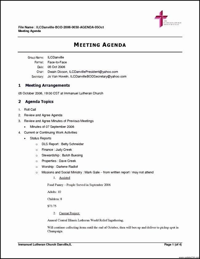 Church Meeting Minutes Template Elegant Inspiring Meeting Agenda Template Example for Church with