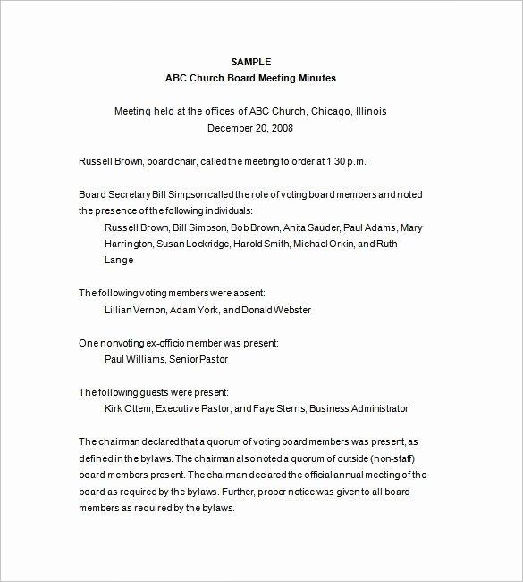 Church Meeting Minutes Template Inspirational Church Board Directors Meeting Minutes Template