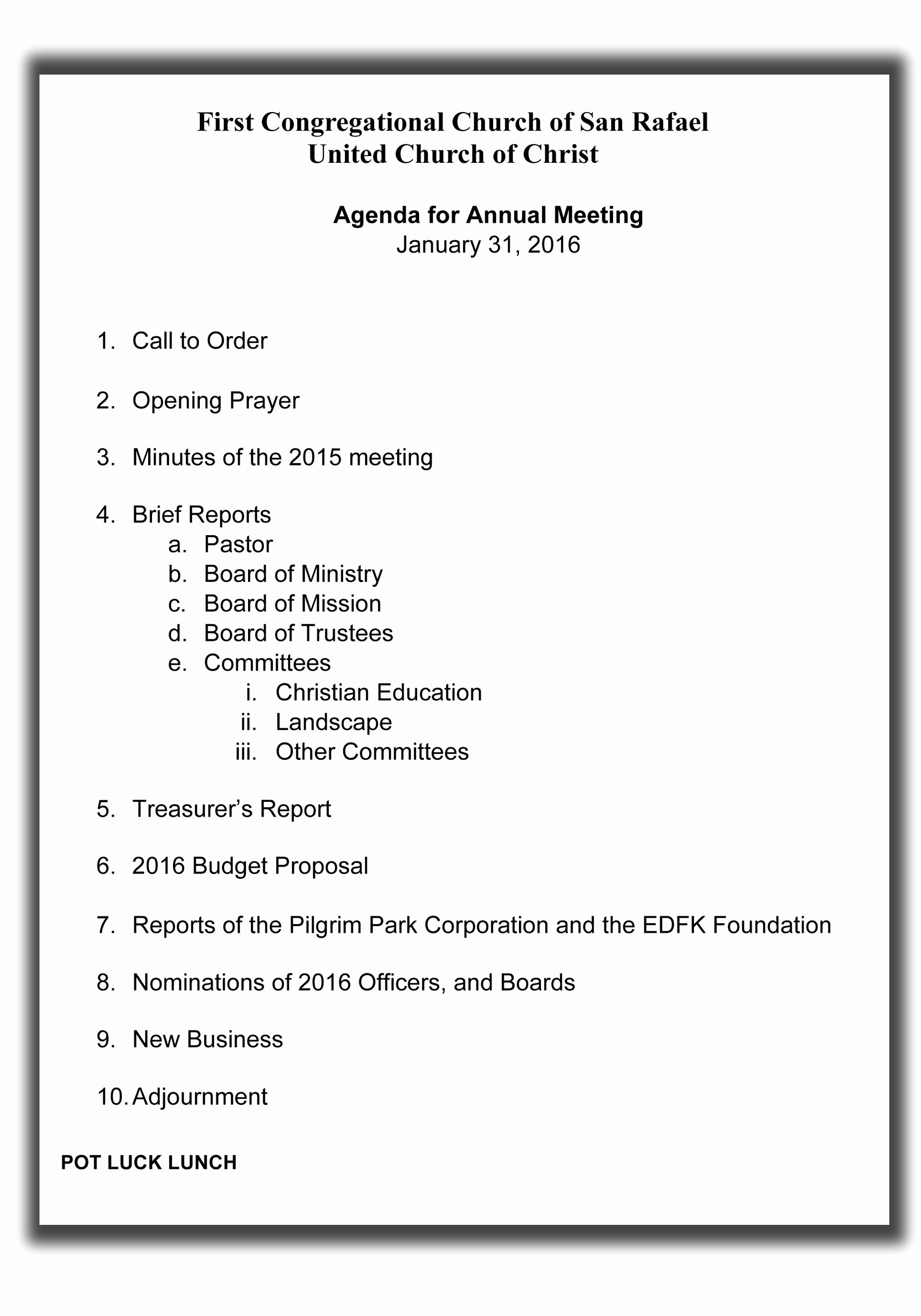 Church Meeting Minutes Template Luxury Annual Meeting Agenda – First Congregational Church Of San