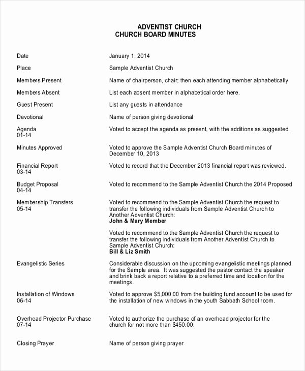 Church Meeting Minutes Template Unique 17 Board Meeting Minutes Examples