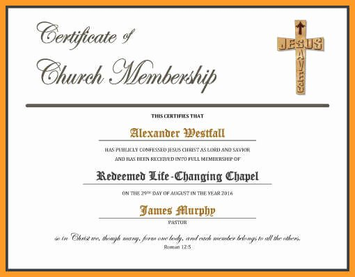 Church Membership Certificate Template Beautiful 5 6 Certificates Of Membership Templates