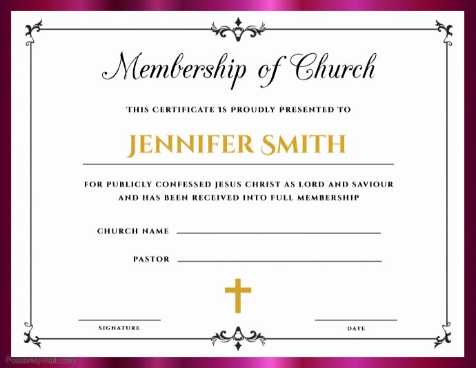 Church Membership Certificate Template Best Of Church Membership Certificate Template