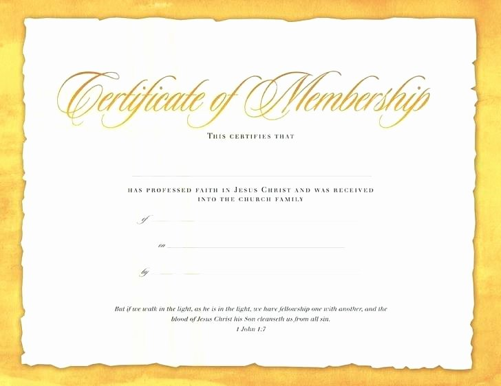 Church Membership Certificate Template Lovely Church Membership Certificate Template with Church