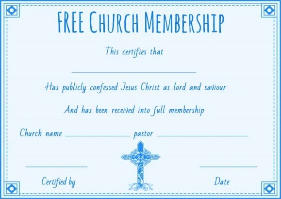 Church Membership Certificate Template Lovely Free Church Membership Certificate Template