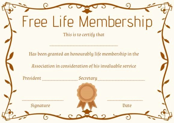 Church Membership Certificate Template New Free Life Membership Certificate Template