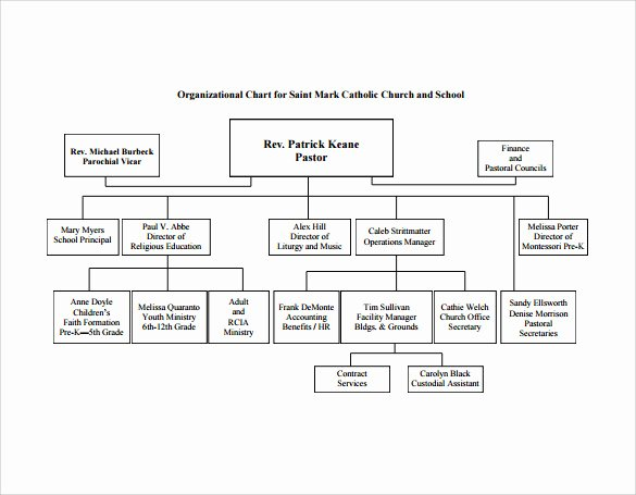 Church organizational Chart Template New Sample Church organizational Chart Template 13 Free