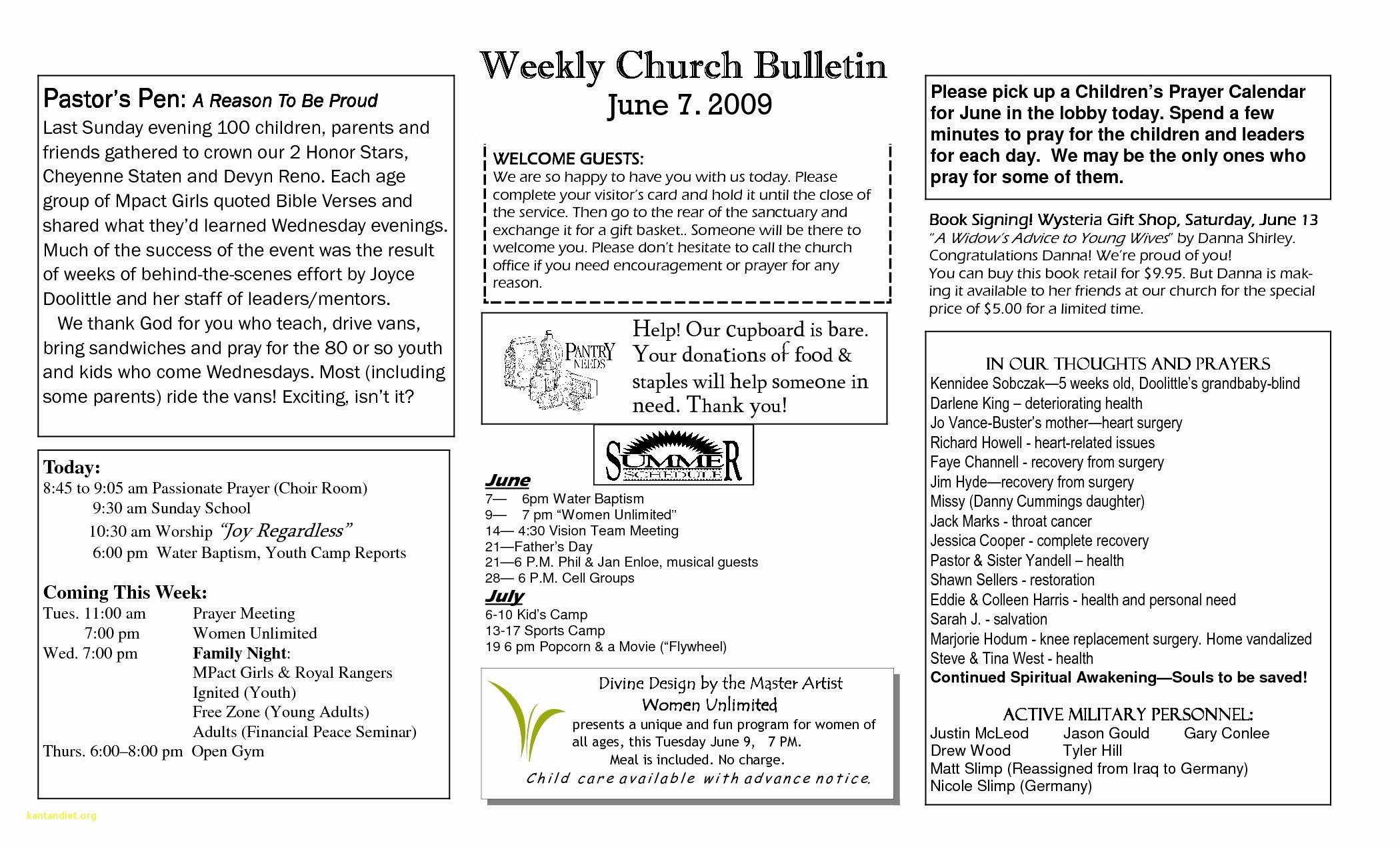 Church Program Template Word Beautiful New Free Printable Church Program Templates