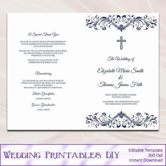 Church Program Template Word Fresh Catholic Wedding Program Template Diy Navy Blue Cross
