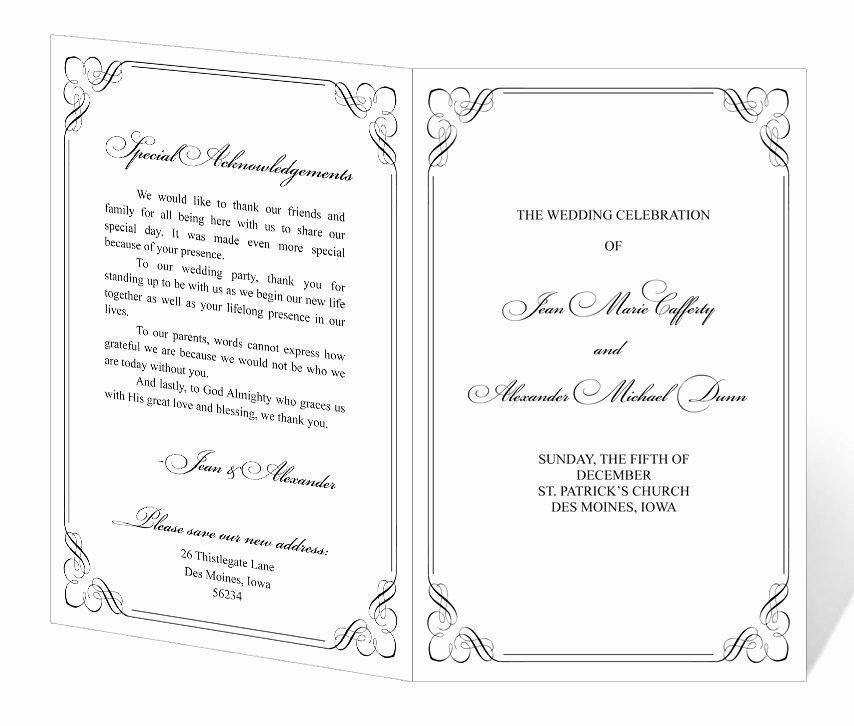 Church Program Template Word Lovely Wedding Program Design Templates