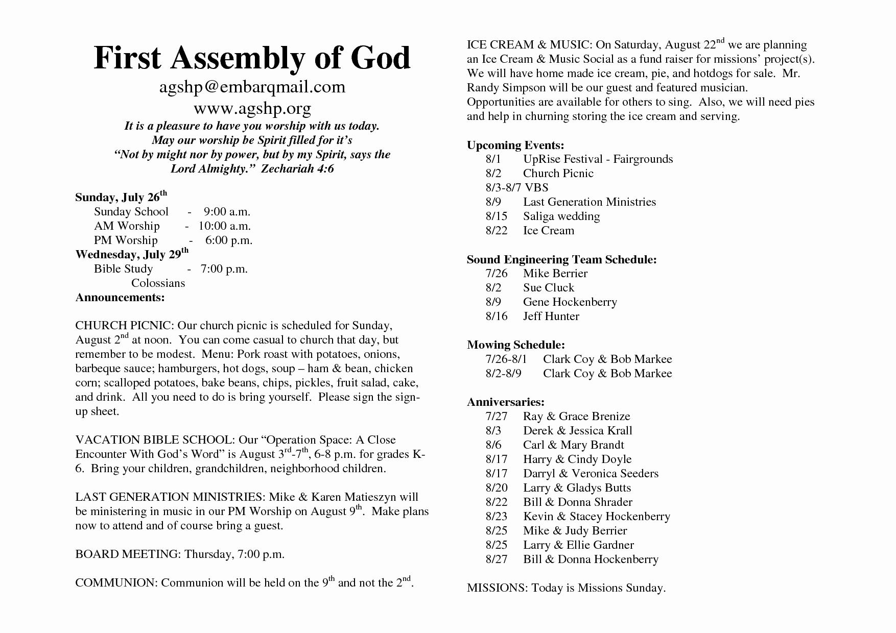 Church Program Template Word New 26 Of Church Bulletin Template Microsoft Word
