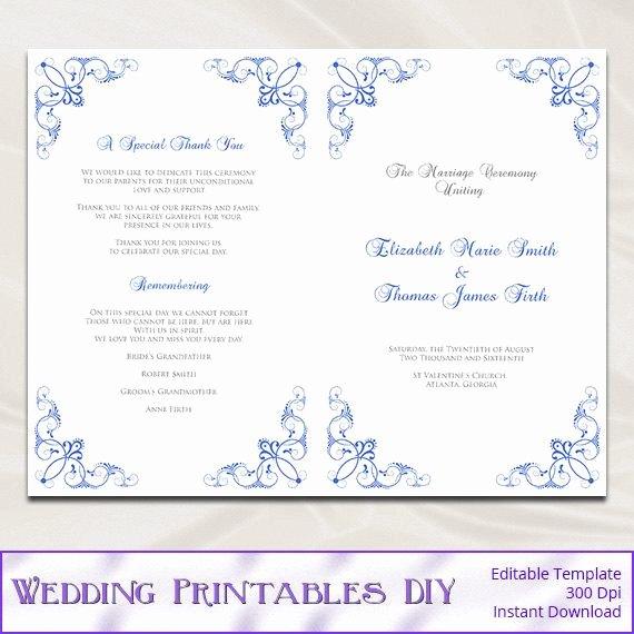 Church Program Template Word New Royal Blue Wedding Program Template Diy Catholic Ceremony