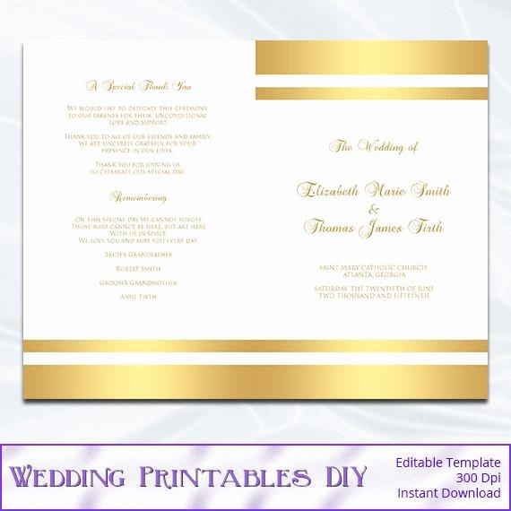 Church Program Template Word Unique Gold Wedding Program Template Diy Gold Foil Striped Church