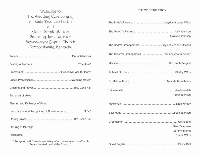 Church Program Template Word Unique Wedding Program Templates Wedding Programs Fast