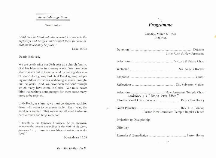 Church Service Program Template Luxury Appreciation Service Program Samples