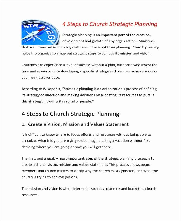 Church Strategic Planning Template Awesome 13 Church Strategic Plan Templates Pdf Word