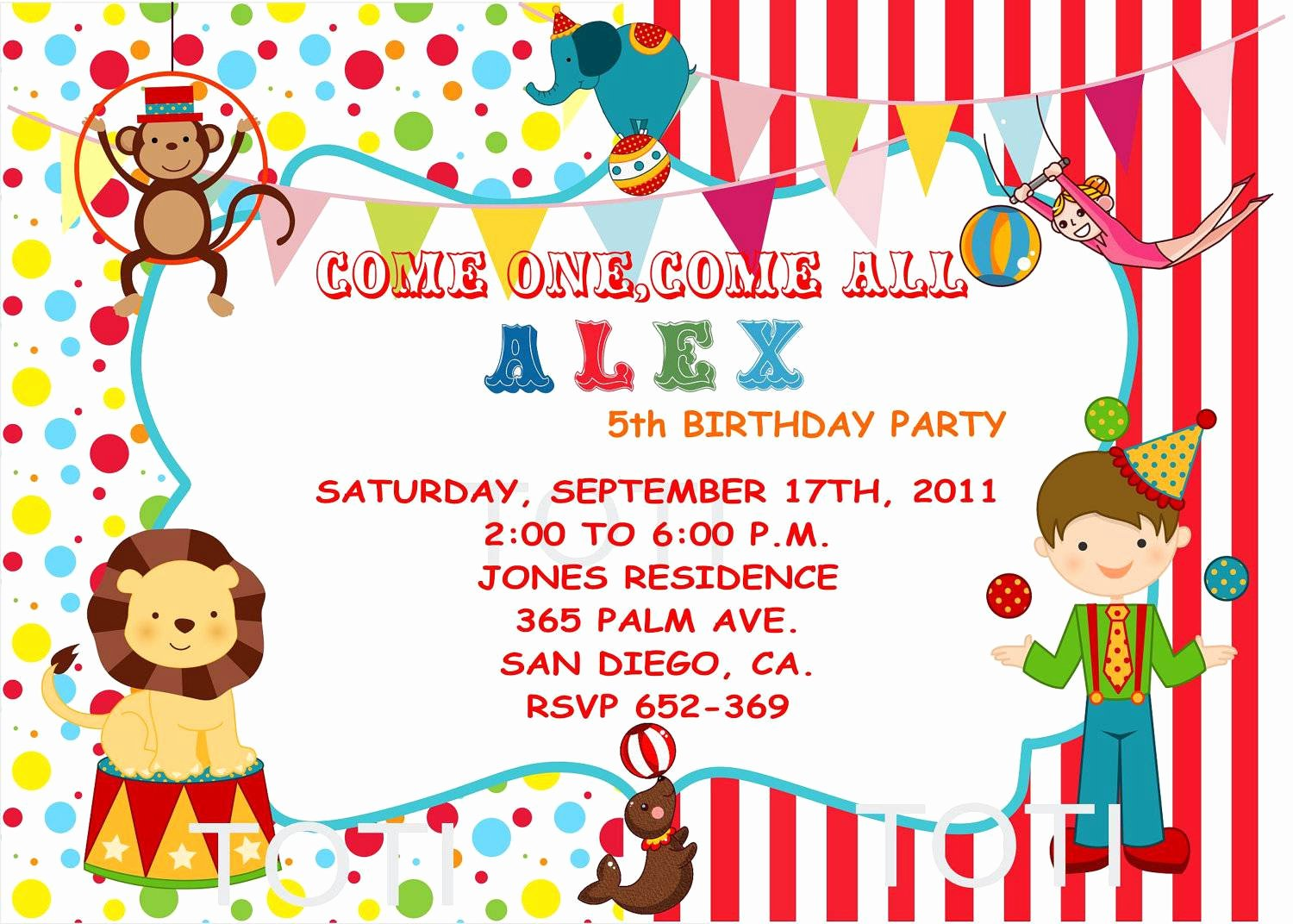 Circus Invitation Template Free Awesome Circus Party Invitations