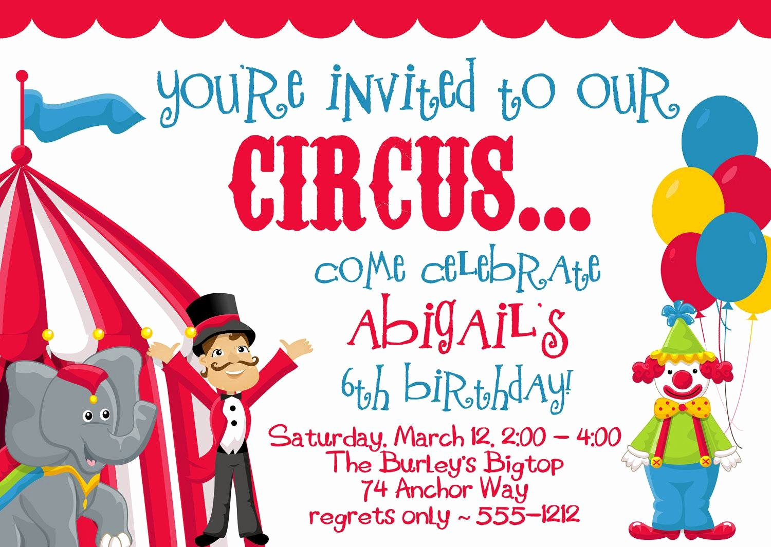 Circus Invitation Template Free Beautiful Circus Party Invitations