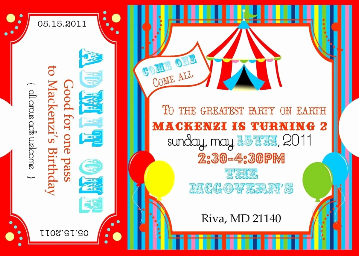 Circus Invitation Template Free Best Of Free Printable Carnival Ticket Invitations