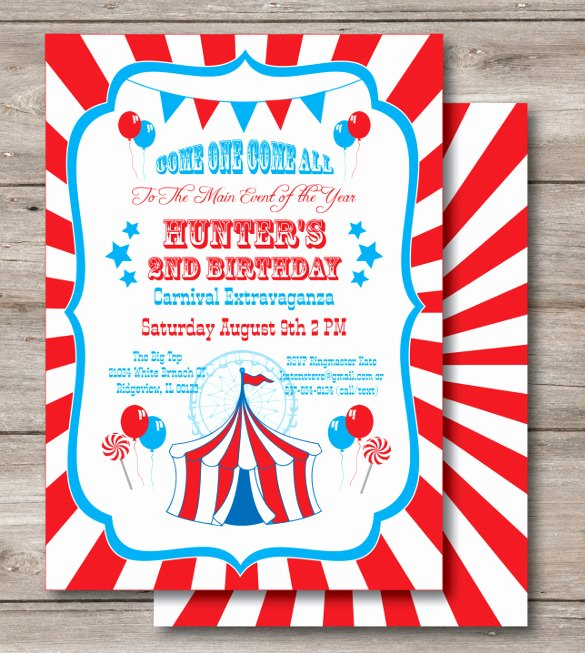 Circus Invitation Template Free Elegant 27 Carnival Birthday Invitations Free Psd Vector Eps