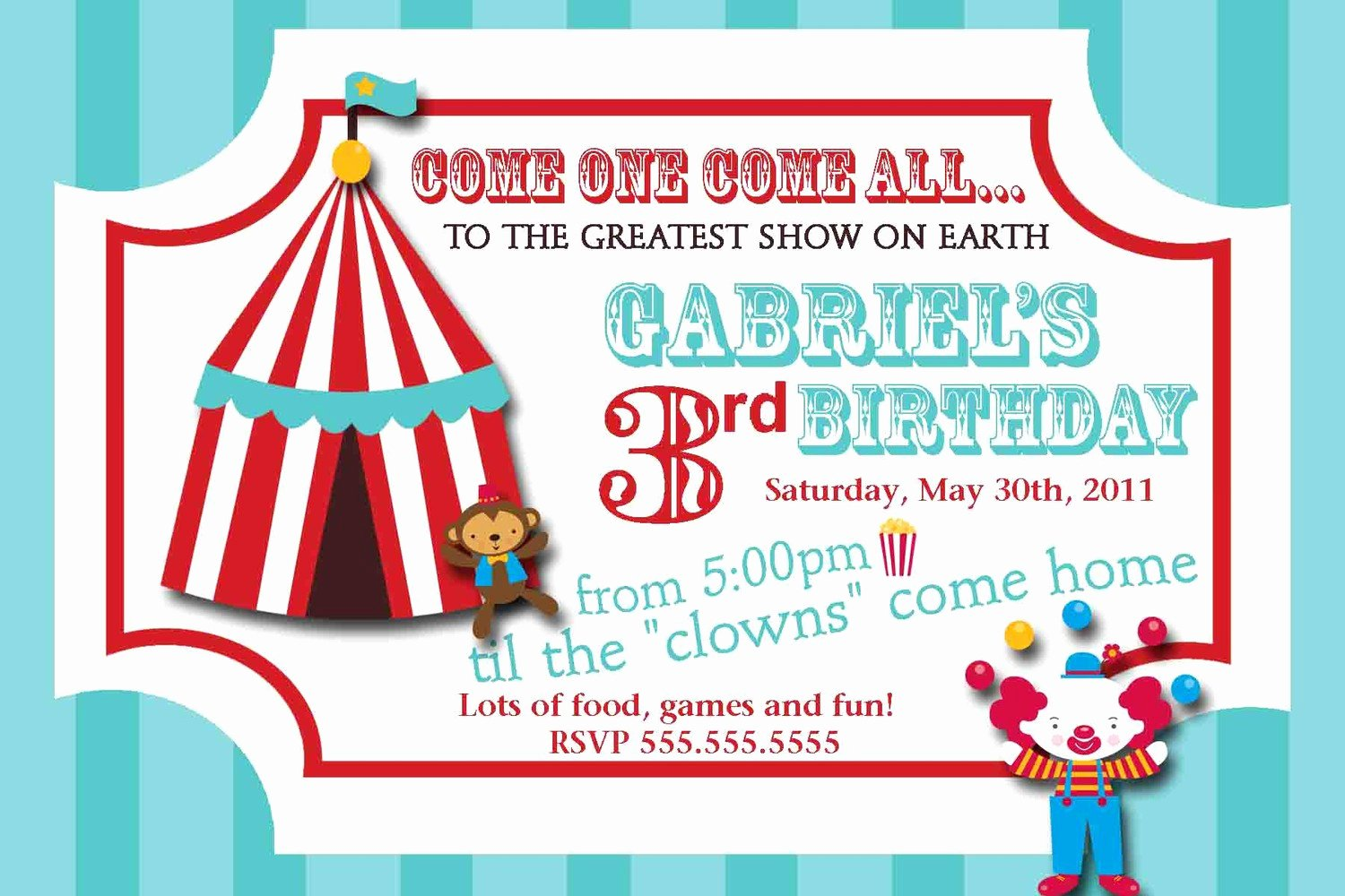 Circus Invitation Template Free Fresh Carnival Circus Ticket Birthday Invitation