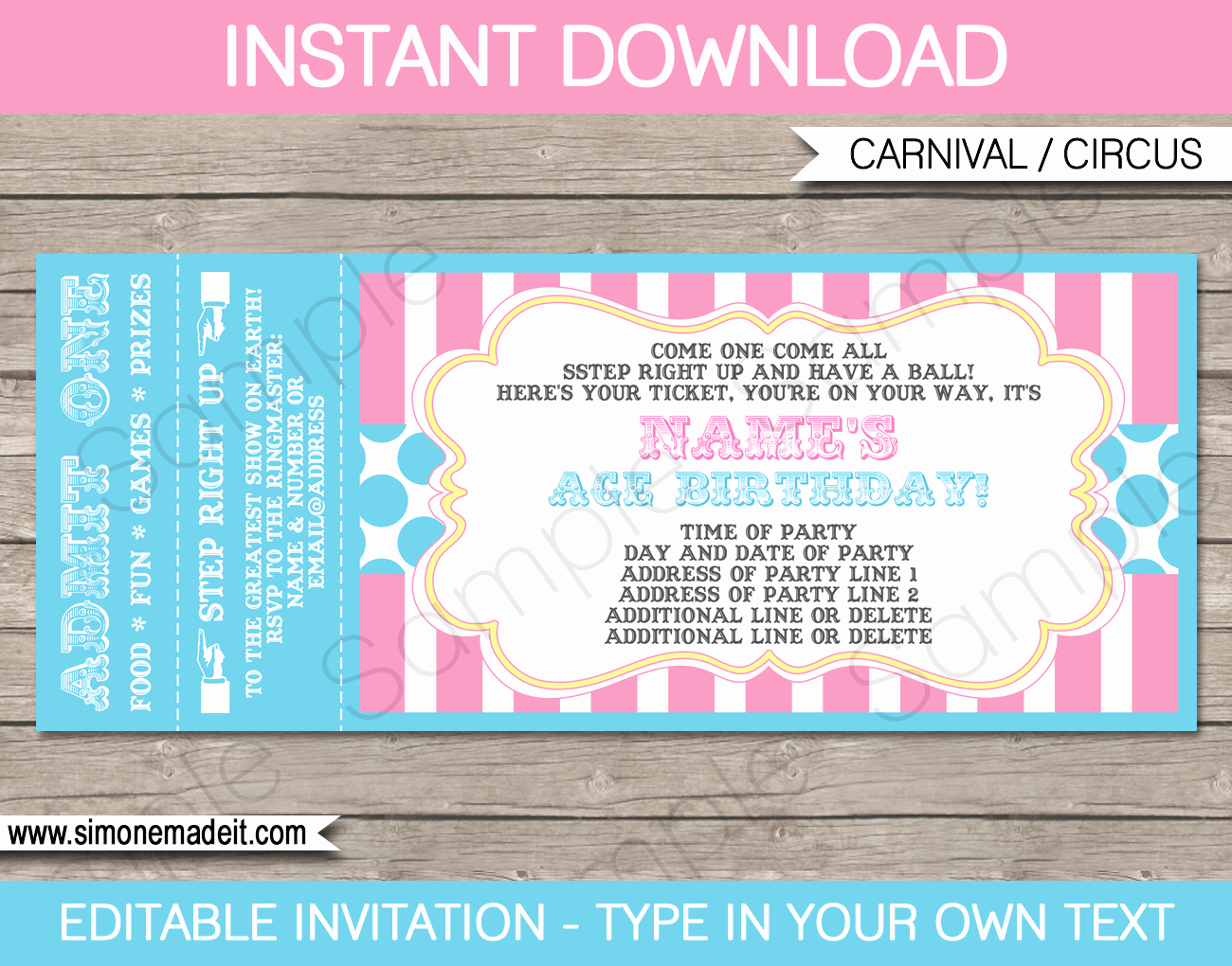 Circus Invitation Template Free Fresh Carnival Party Ticket Invitations Template