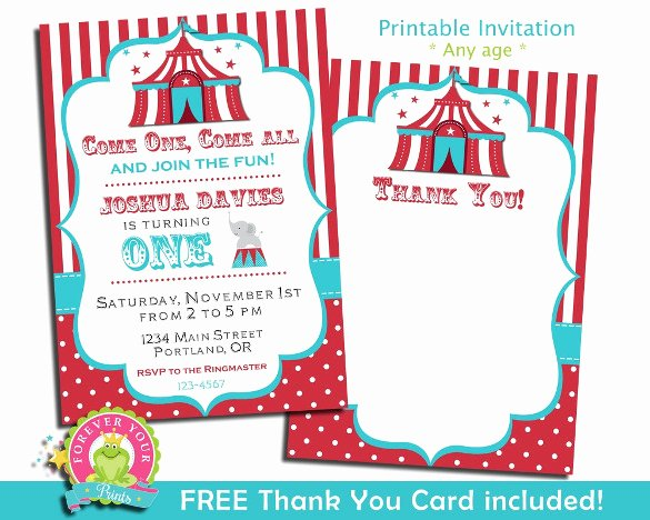 Circus Invitation Template Free Fresh Carnival themed Birthday Party Invitation Templates – Best