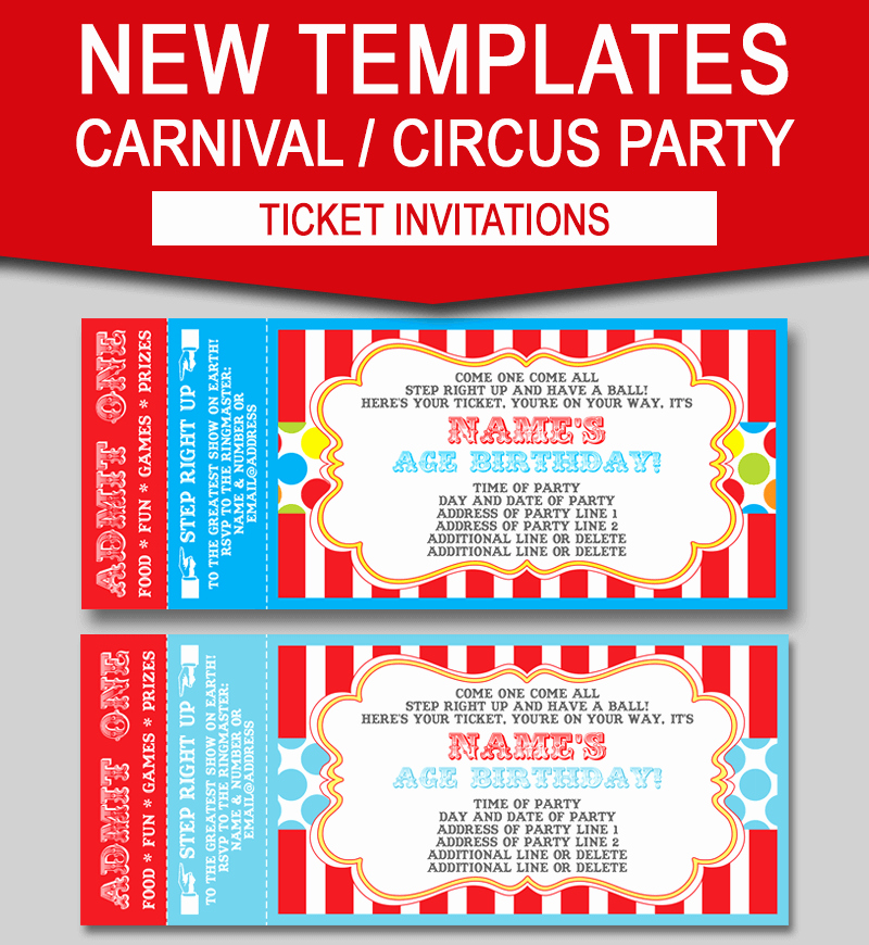 Circus Invitation Template Free Fresh Editable Carnival Ticket Invitations