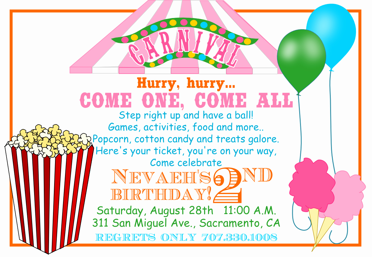 Circus Invitation Template Free Inspirational Carnival Invitations Template Invitation Template