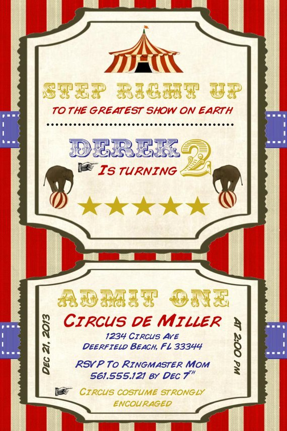Circus Invitation Template Free Luxury Circus Birthday Invitation Template