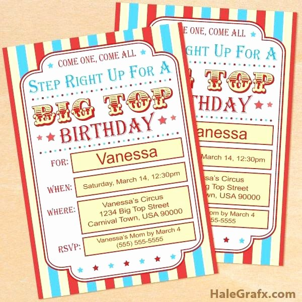 Circus Invitation Template Free Luxury Circus Ticket Template Free – asctech