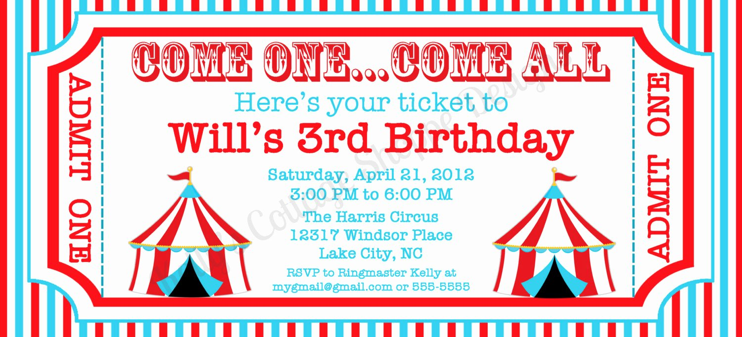 Circus Invitation Template Free New 6 Best Of Circus Ticket Template Printable Blank