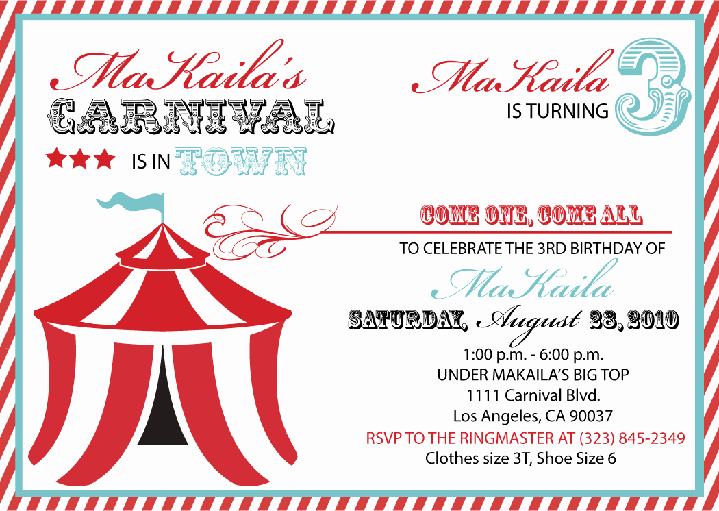 Circus Invitation Template Free Unique 40th Birthday Ideas Carnival Birthday Invitation Template