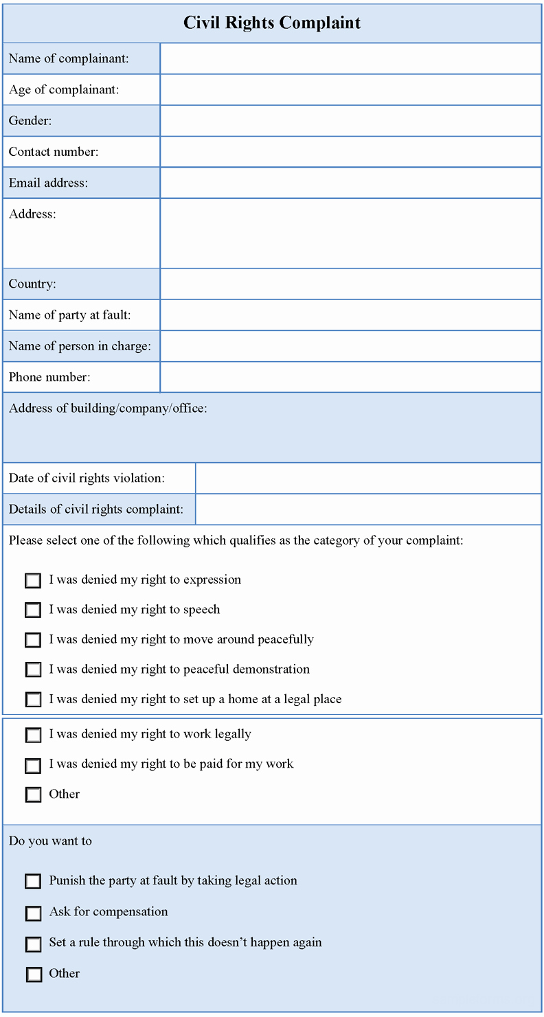 Civil Complaint Template Word Beautiful Civil Rights Plaint form Sample forms