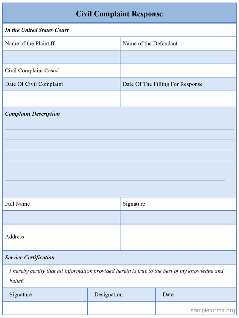 Civil Complaint Template Word Elegant Civil Plaint Response form Sample forms