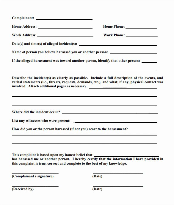 Civil Complaint Template Word Fresh 8 Employee Plaint form Templates to Download