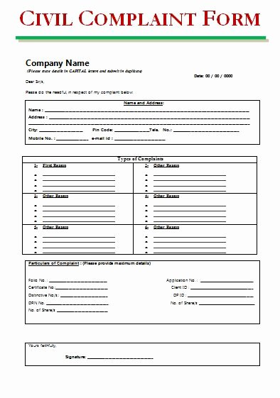Civil Complaint Template Word Lovely Civil Summons form