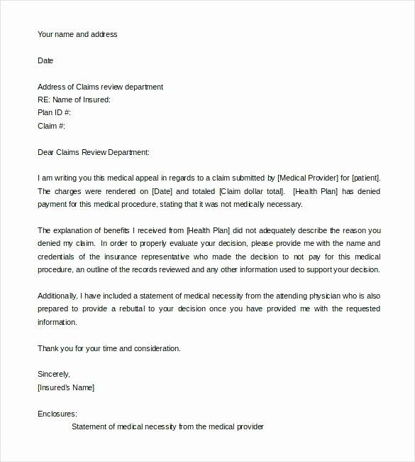 Claim Denial Letter Template Best Of Dental Insurance Denial Appeal Letter