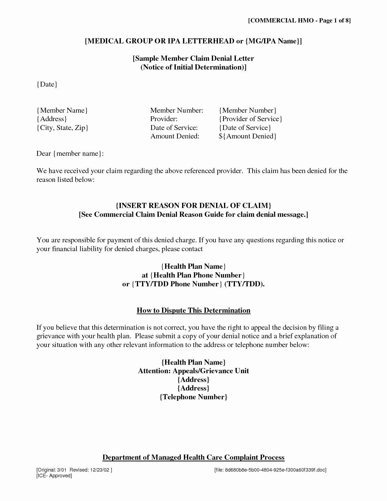 Claim Denial Letter Template Luxury Claim Denial Letter Template Examples