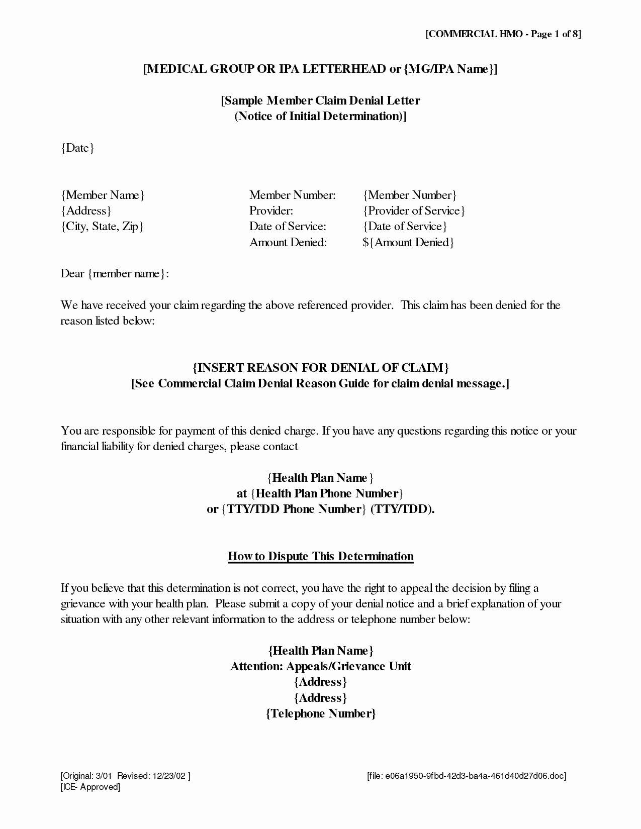 Claim Denial Letter Template Unique Insurance Denial Letter Template Samples